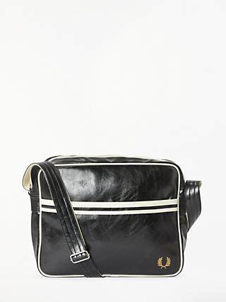 Fred Perry Classic Messenger Shoulder Bag, Black/Ecru
