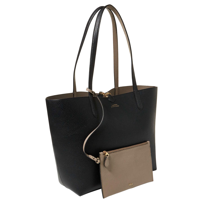 Lauren Ralph Lauren Reversible Tote Bag Black Taupe At