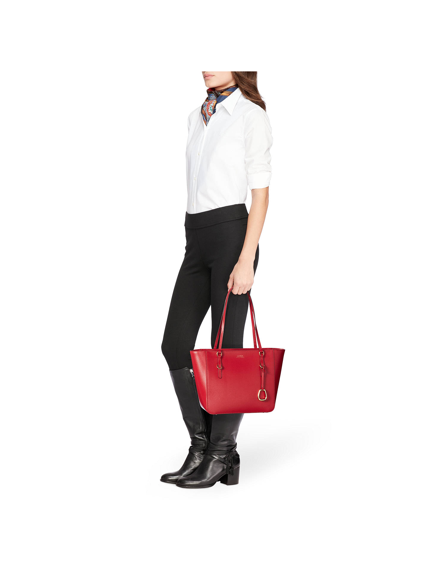2cce1a351cd ... BuyLauren Ralph Lauren Saffiano Leather Shopper Tote Bag, Red Online at  johnlewis.com