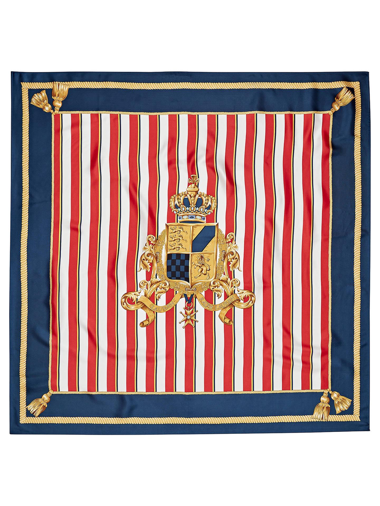 c4759b81ae Lauren Ralph Lauren Zina Shield Crest Silk Scarf, Navy at John Lewis ...