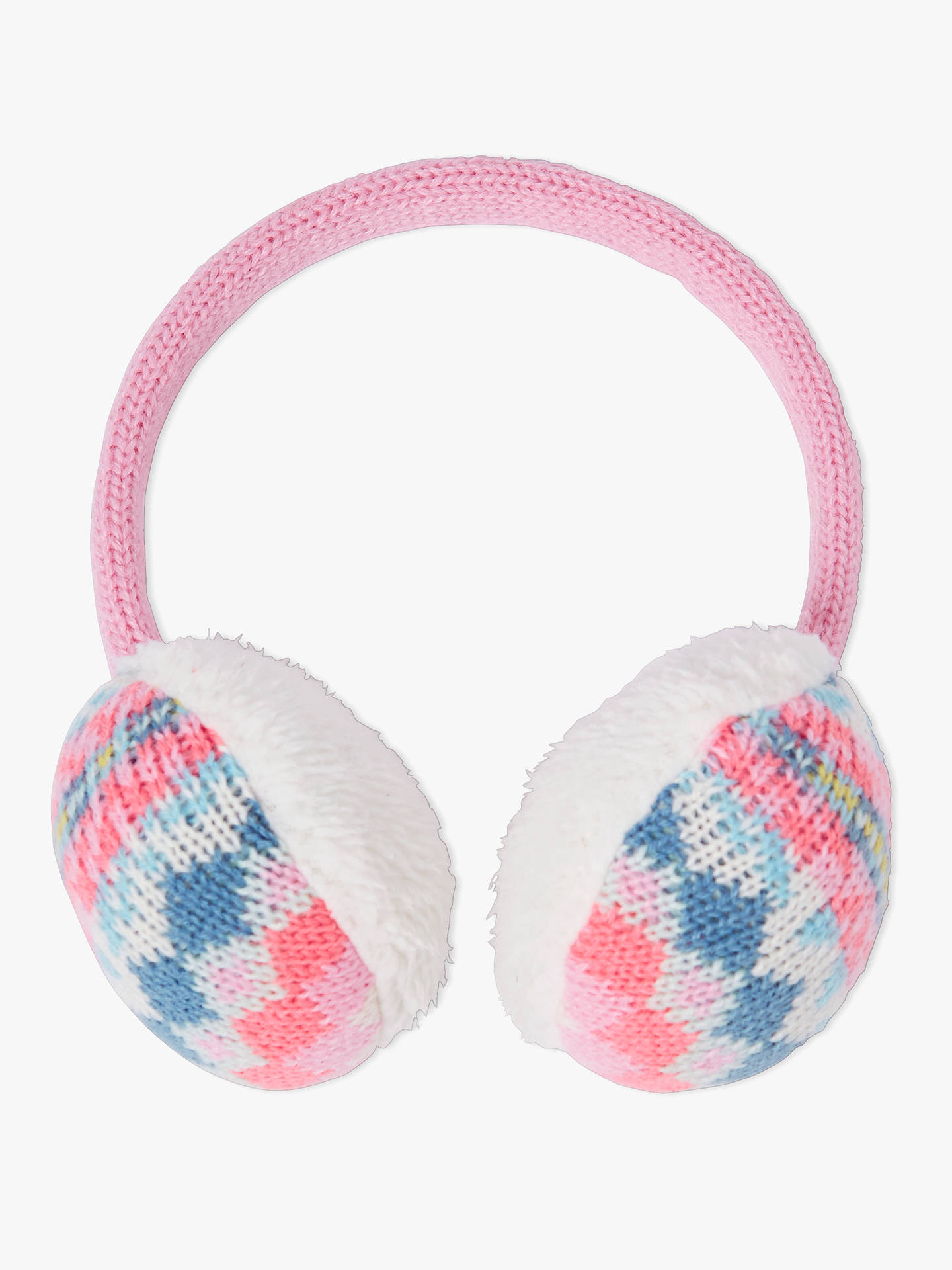 BuyJohn Lewis & Partners Children's Pretty Fair Isle Earmuffs, Pink/Blue Online at johnlewis.com