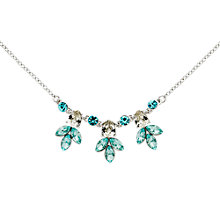 Buy Monet Navette Rhodium Plated Glass Crystal Necklace, Silver/Aqua Online at johnlewis.com