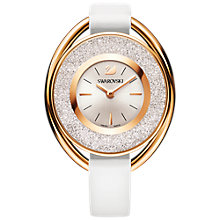 Buy Swarovski 5230946 Women's Crystalline Oval Leather Strap Watch, White/Silver Online at johnlewis.com