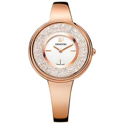 Swarovski 5269250 Women's Crystalline Round Bracelet Strap Watch, Rose Gold/White