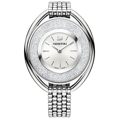Swarovski 5181008 Women's Crystalline Oval Bracelet Strap Watch, Silver/White