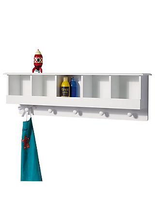 Great Little Trading Co 5 Cube Cubbyhole Wall Shelf And Hooks White
