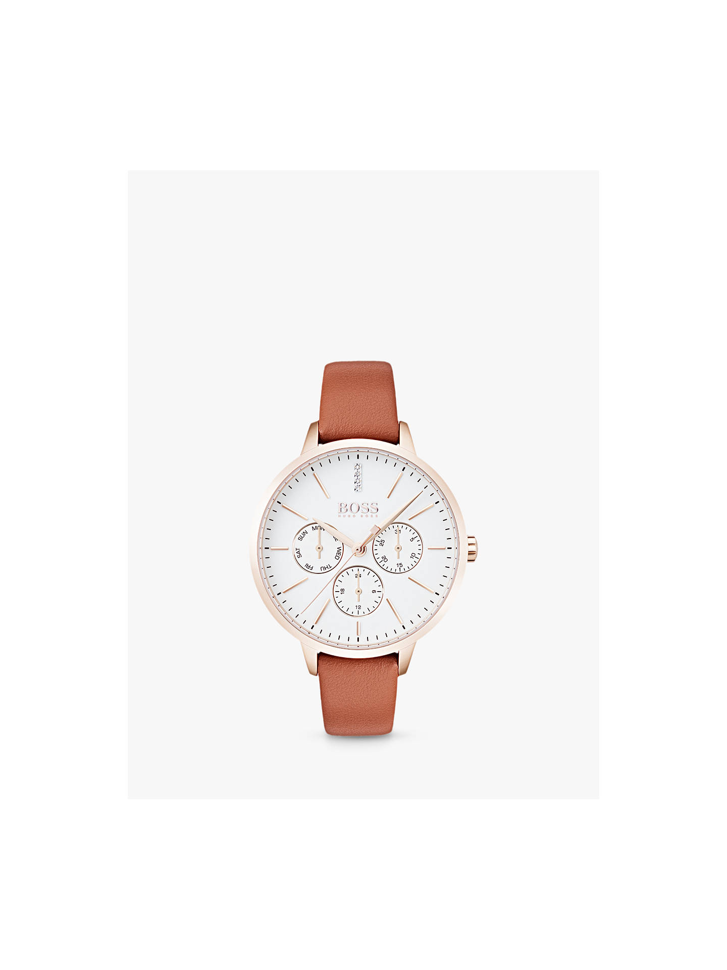 3522bb24992b Buy HUGO BOSS Women's Symphony Day Date Leather Strap Watch, Brown/White  1502420 Online ...