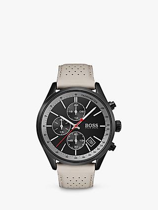HUGO BOSS 1513562 Men's Grand Prix Chronograph Date Leather Strap Watch, Grey/Black