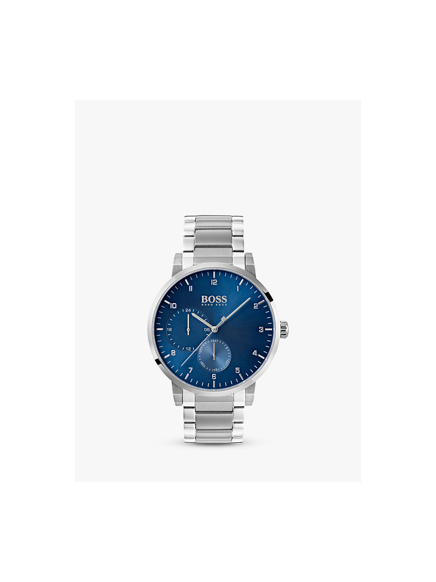 c8e33636b Buy HUGO BOSS Men's Oxygen Bracelet Strap Watch, Silver/Blue 1513597 Online  at johnlewis ...