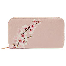 Buy Ted Baker Kohei Leather Soft Blossom Zip Matinee Purse, Light Pink Online at johnlewis.com