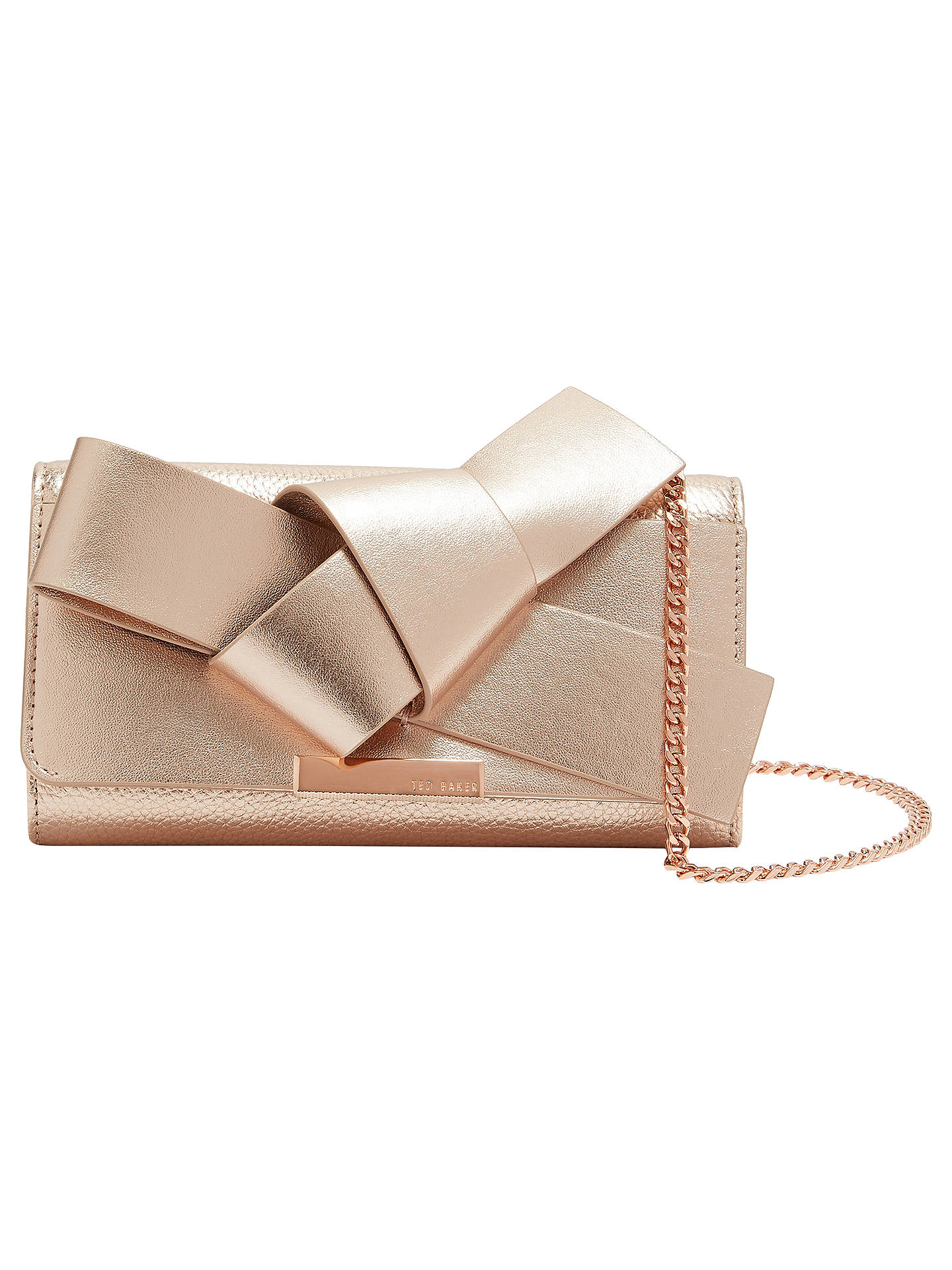 2f68a0530e7 Buy Ted Baker Lyle Giant Knot Bow Leather Evening Bag, Rose Gold Online at  johnlewis ...