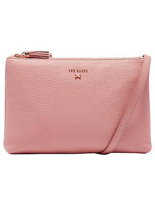 Ted Baker Suzette Leather Double Zip Cross Body Bag, Dusky Pink