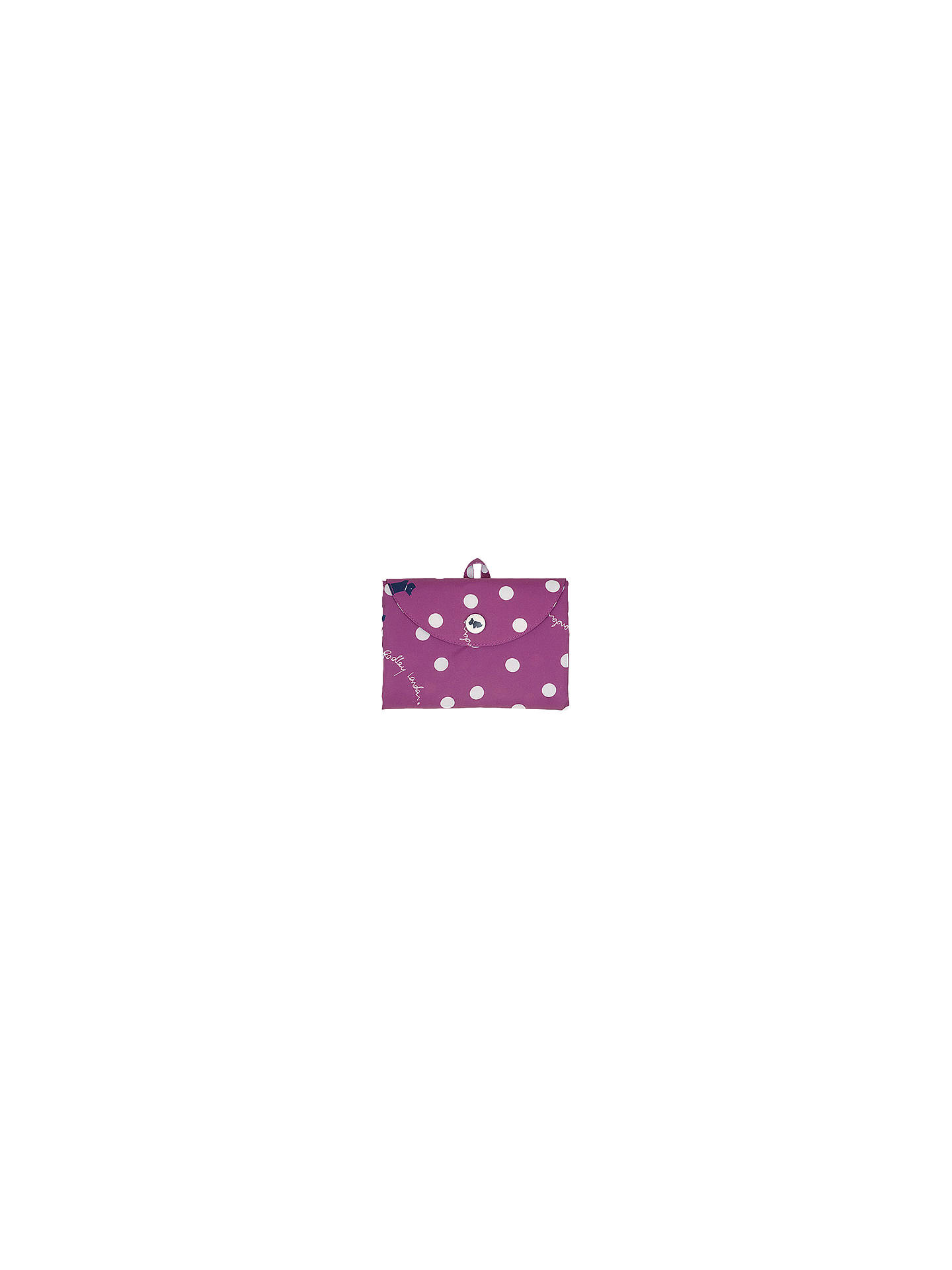 BuyRadley Vintage Dog Dot Foldaway Tote Bag, Magenta Online at johnlewis.com