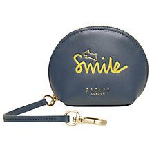 Buy Radley Smile Leather Bag Charm Coin Purse, Petrol Online at johnlewis.com