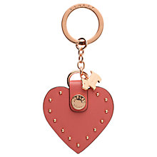 Buy Radley Leather Heart Stud Keyring, Coral Online at johnlewis.com