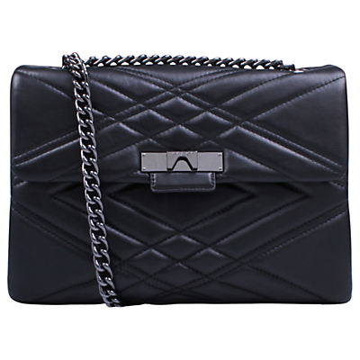 Kurt Geiger Mayfair Leather Large Cross Body Bag, Black