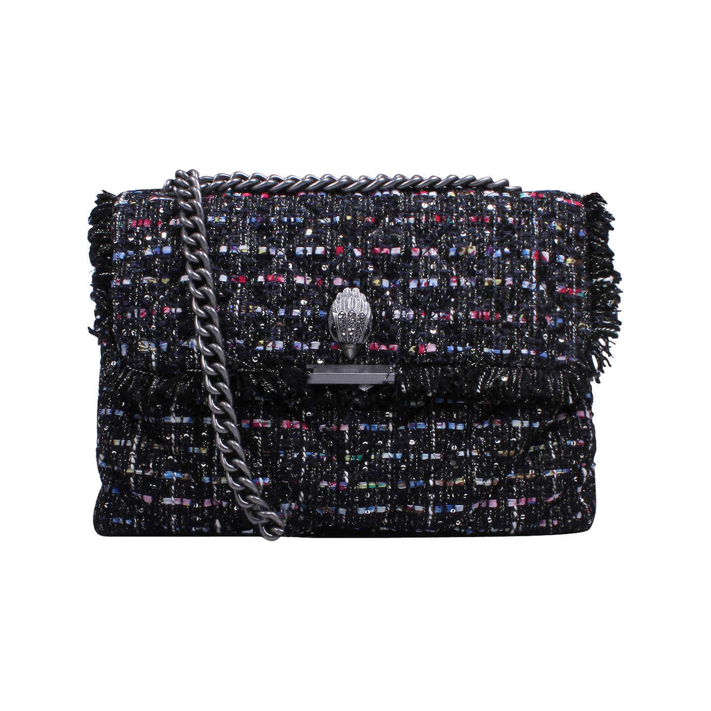 BuyKurt Geiger Kensington Tweed Large Cross Body Bag, Black Online at johnlewis.com
