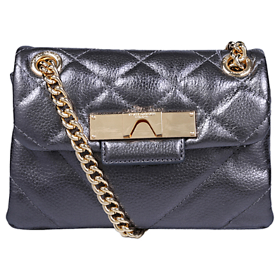 Kurt Geiger Mayfair Mini Leather Cross Body Bag, Gunmetal