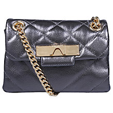 Buy Kurt Geiger Mayfair Mini Leather Cross Body Bag, Gunmetal Online at johnlewis.com