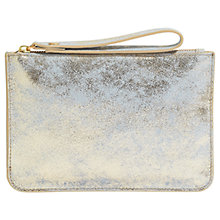 Buy Jigsaw Nova Leather Medium Pouch, Pale Gold Online at johnlewis.com