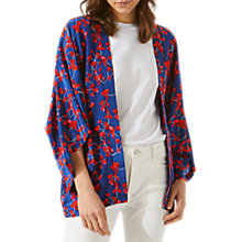 Buy Jigsaw Cyclamen Floral Silk Cape, Navy/Red Online at johnlewis.com