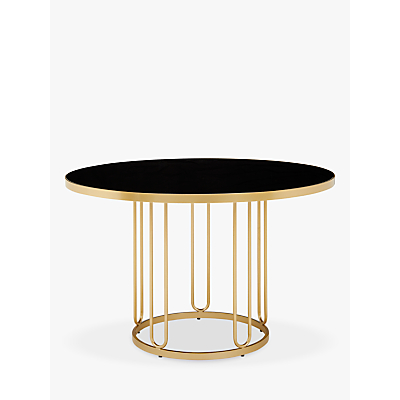John Lewis & Partners Farrugia 4 Seater Glass Top Dining Table, Black/Brass