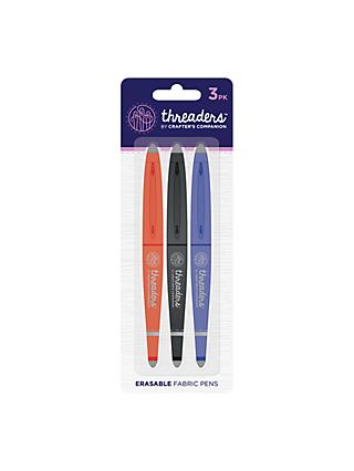 Crafter's Companion Threaders Heat Erasable Fabric Pens, Pack of 3