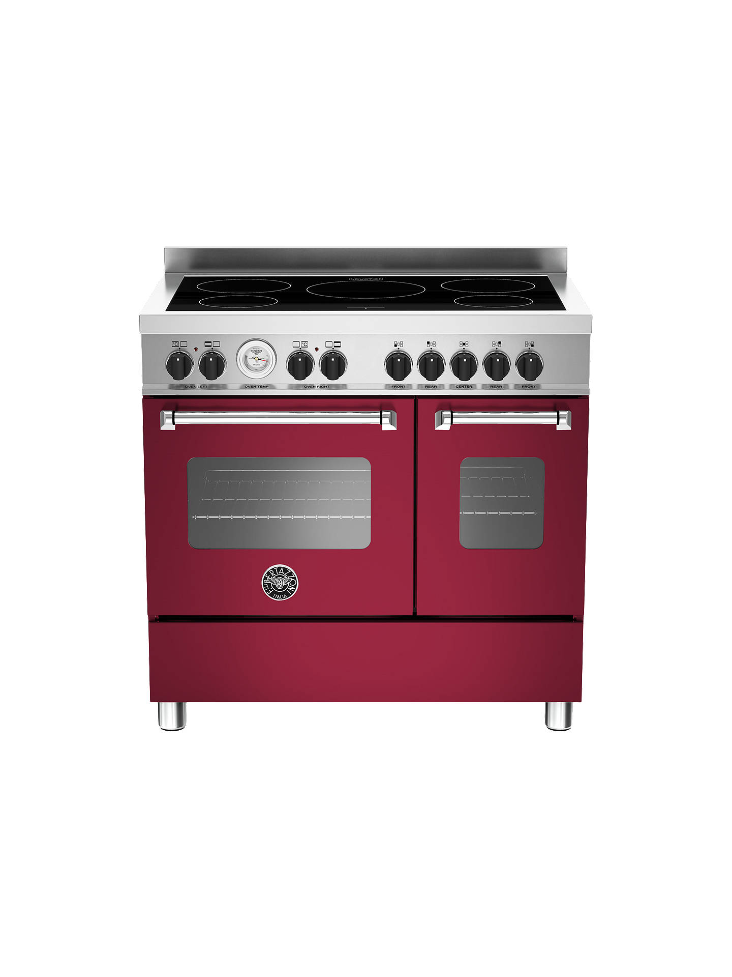 Buy Bertazzoni Master Series 90cm Induction Range Cooker, Burgundy Online at johnlewis.com