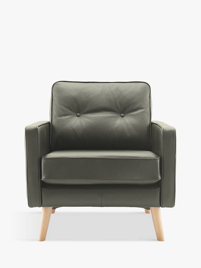 G Plan Vintage The Sixty Five Leather Armchair, Capri Grey