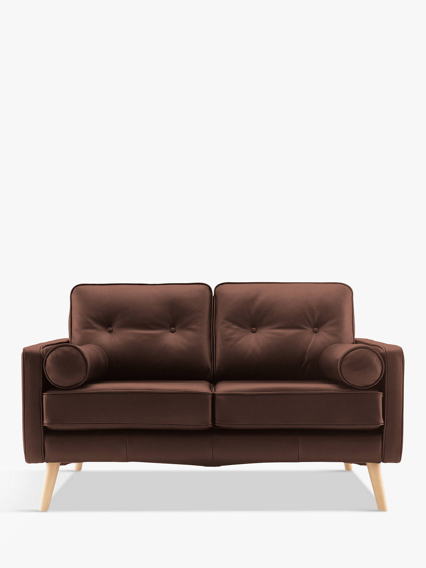 Buy G Plan Vintage The Sixty Five Small 2 Seater Leather Sofa, Capri Oak Online at johnlewis.com