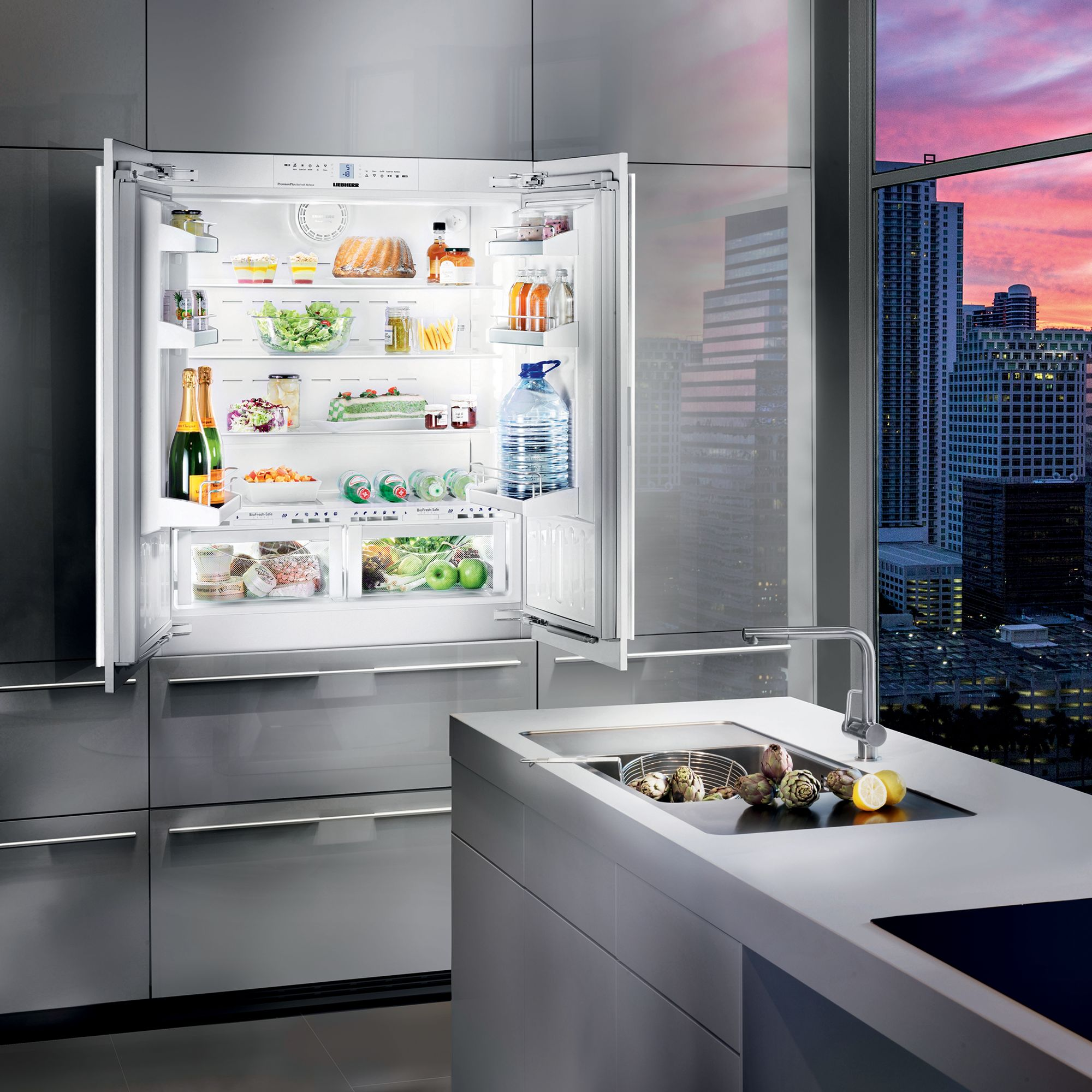 Liebherr Ecbn6256 Integrated American Style Fridge Freezer 91cm Wide A Energy Rating White At John Lewis Partners