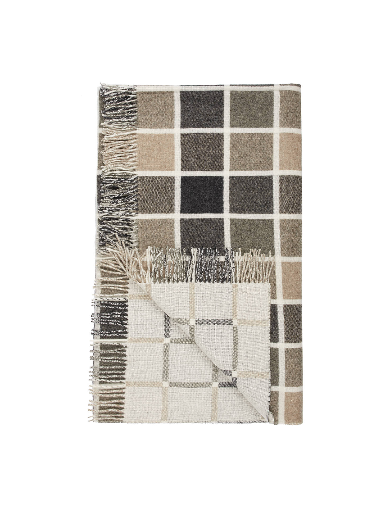 Buy Bronte by Moon Blocks 100% Lambswool Throw, Natural / Grey, L185 x W140cm Online at johnlewis.com
