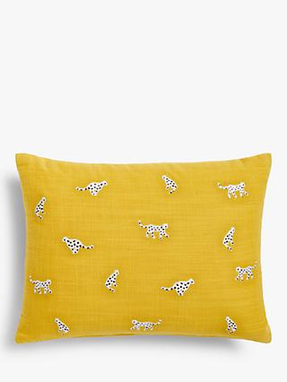 House by John Lewis Cheetah Cushion, Mustard