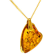 Buy Be-Jewelled Amber Heart Pendant Necklace, Gold/Cognac Online at johnlewis.com