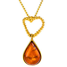 Buy Be-Jewelled Amber Teardrop Pendant Necklace, Gold/Cognac Online at johnlewis.com