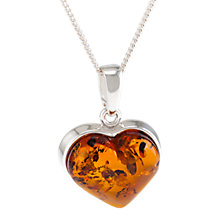 Buy Be-Jewelled Baltic Amber Heart Pendant Necklace, Silver/Cognac Online at johnlewis.com