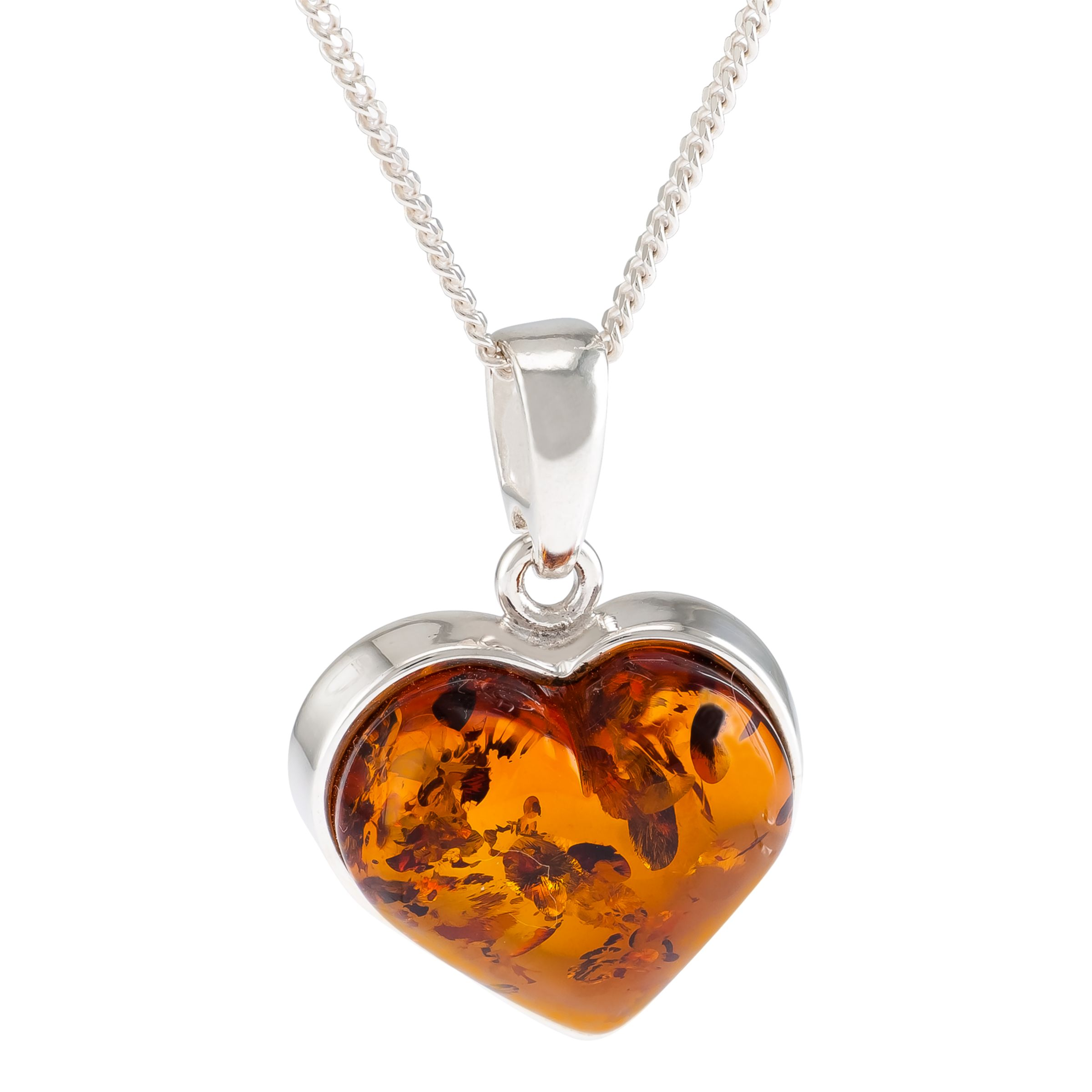 Be-Jewelled Be-Jewelled Baltic Amber Heart Pendant Necklace, Silver/Cognac