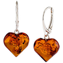 Buy Be-Jewelled Sterling Silver Amber Heart Earrings, Silver/Cognac Online at johnlewis.com