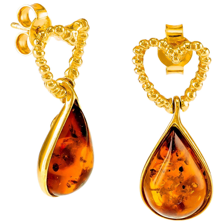 Be Jewelled Heart Amber Teardrop Earrings Gold Cognac Online At Johnlewis