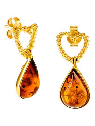 Be-Jewelled Heart Amber Teardrop Earrings, Gold/Cognac