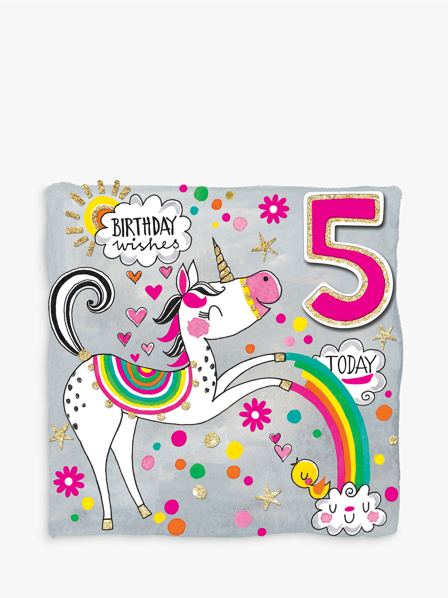 BuyRachel Ellen Scribbles Unicorn 5th Birthday Card Online at johnlewis.com