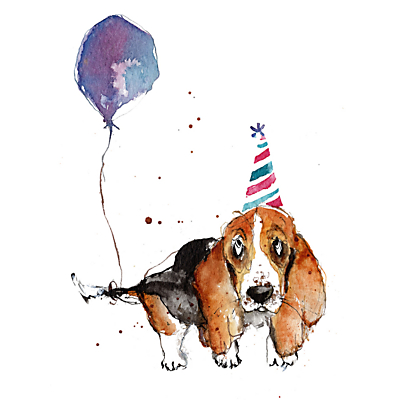 Image of Louise Mulgrew Basset Hound With Balloon Birthday Card