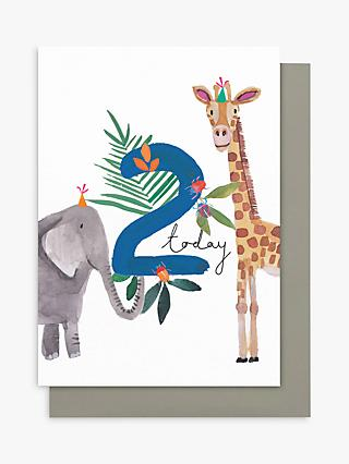 Stop The Clock Design Boy Elephant / Giraffe 2nd Birthday Card