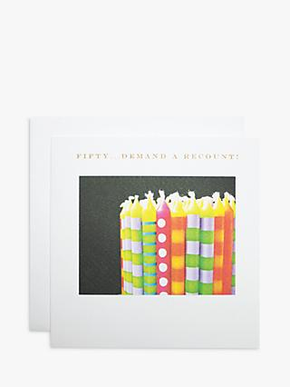 Susan O'Hanlon Candles Re-Count 50th Birthday Card