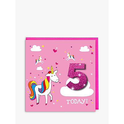 Image of Tache Crafts Pink Unicorn 5th Birthday Card