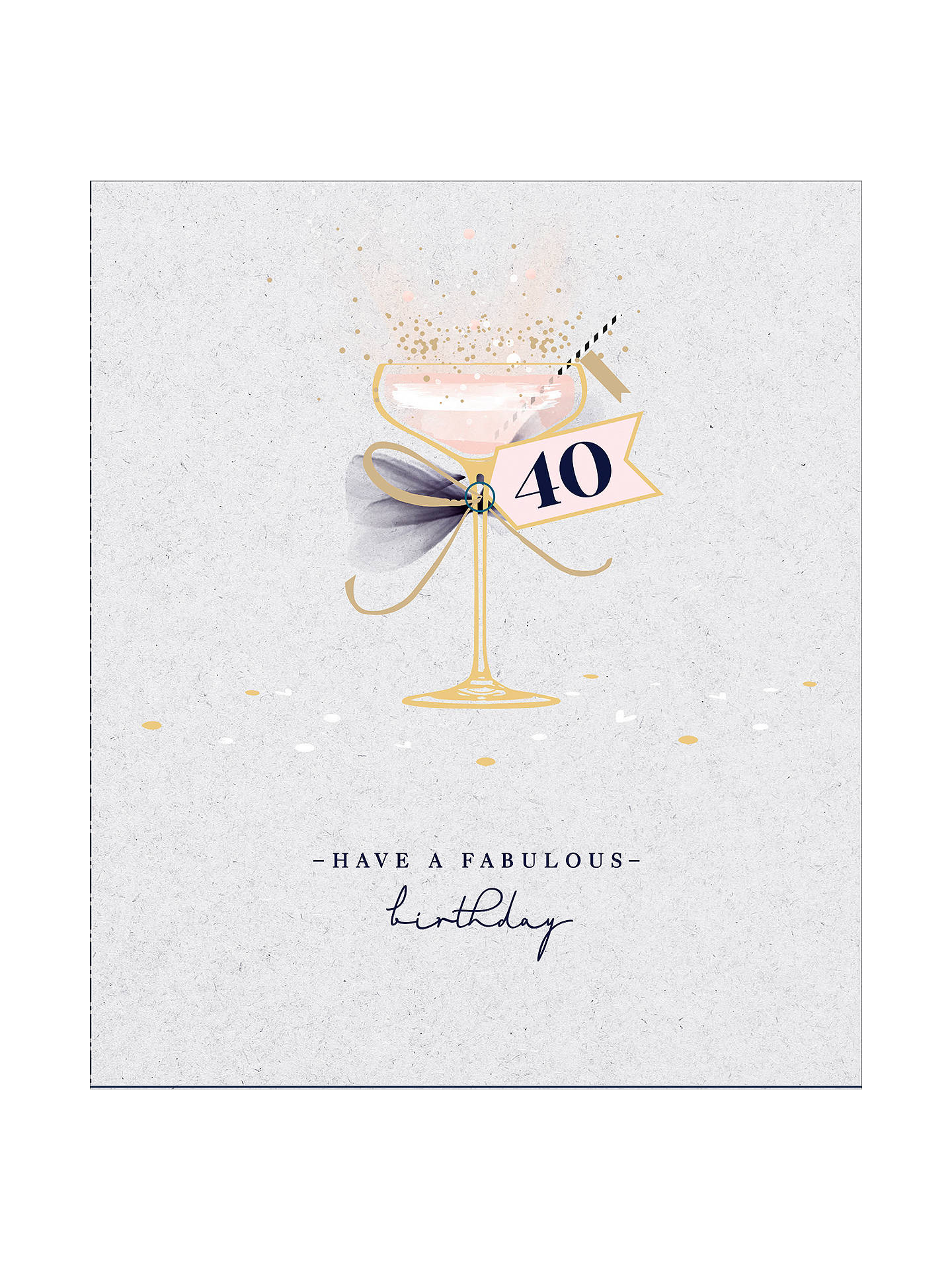 Uk Greetings Cocktail 40th Birthday Card At John Lewis Partners