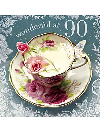 Woodmansterne Teacup 90th Birthday Card