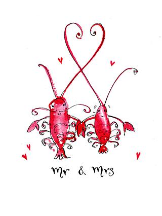 Louise Mulgrew Lobsters Mr And Mrs Wedding Card