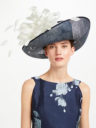 John Lewis Partners Cindy Large Upturn Flower Detail Occasion Hat Navy Ivory