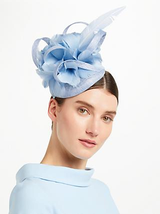 John Lewis Partners Tasha Pillbox Large Feather Fascinator Bluebell Blue